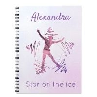 Figure skating notebook gift star ice pink